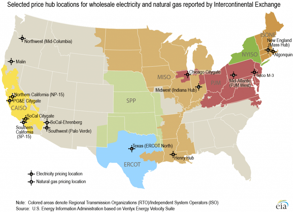 a map of the united states showing electricity and natural gas market hubs